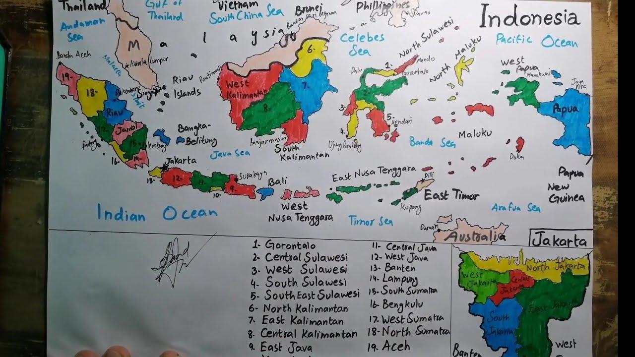 How To Draw Indonesia Map Menggambar Peta Indonesia Saad Youtube