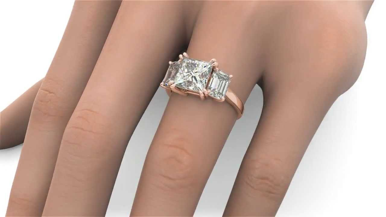 400 Tcw Princess & Emerald Cut 3 Stone Solitaire Engagement Ring Solid 14k  Rose Gold