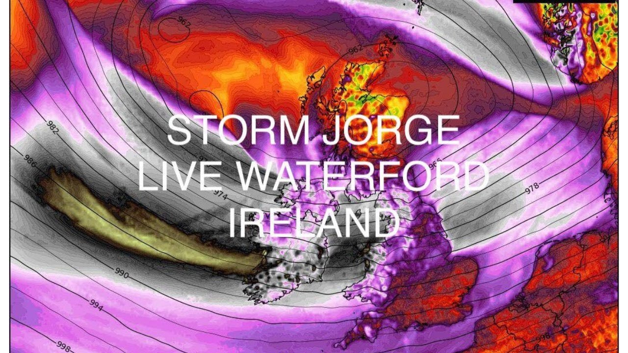 STORM JORGE LIVE WATERFORD IRELAND YELLOW LEVEL WIND WARNING