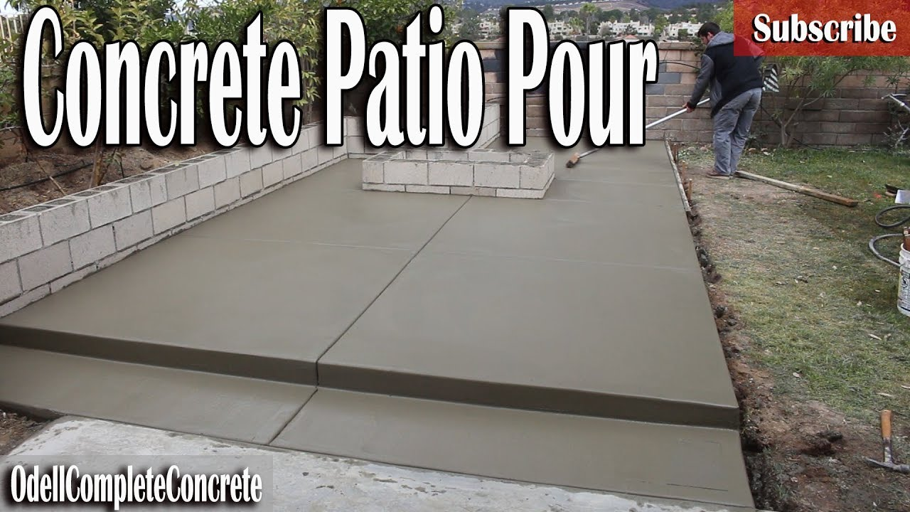 how to pour a concrete patio with a fire pit and retaining wall