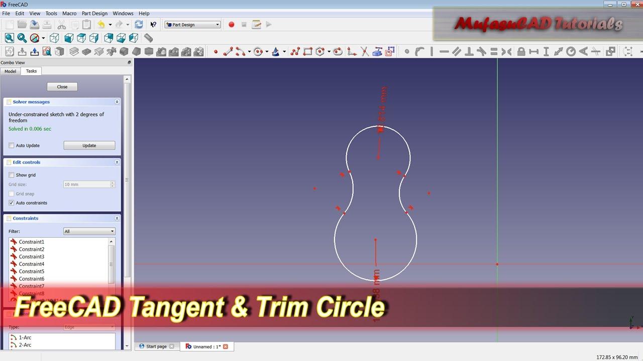 FreeCAD Tangent & Trim Circles | Tips
