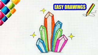 easy drawings draw crystals colored