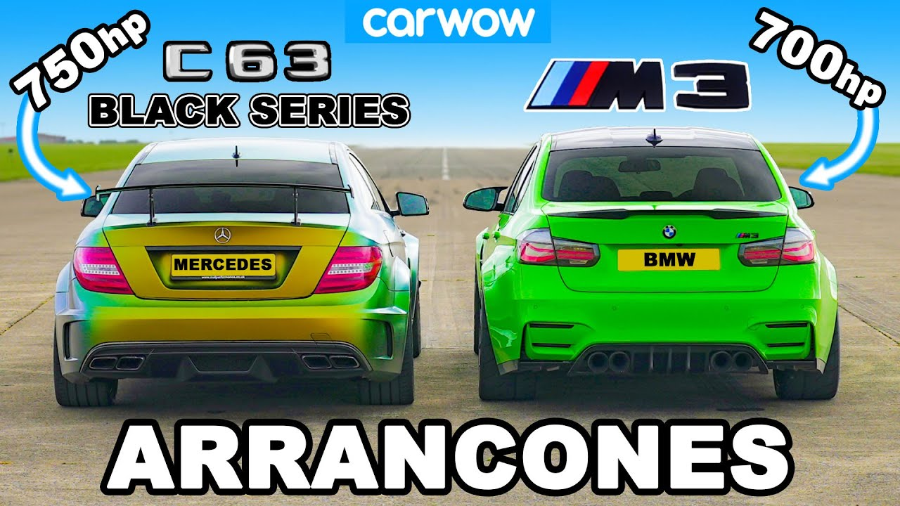 750hp AMG C63 Black Series vs 700hp BMW M3: ¡ARRANCONES 1/4, 1/2 y 1-MILLA!