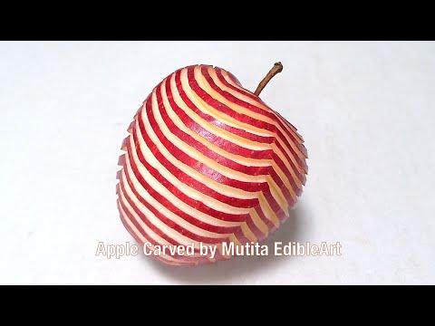 Apple Carving | Zebra Pattern Design | Beginners Lesson 86 | By Mutita Edible Art Of Fruit And Veget
