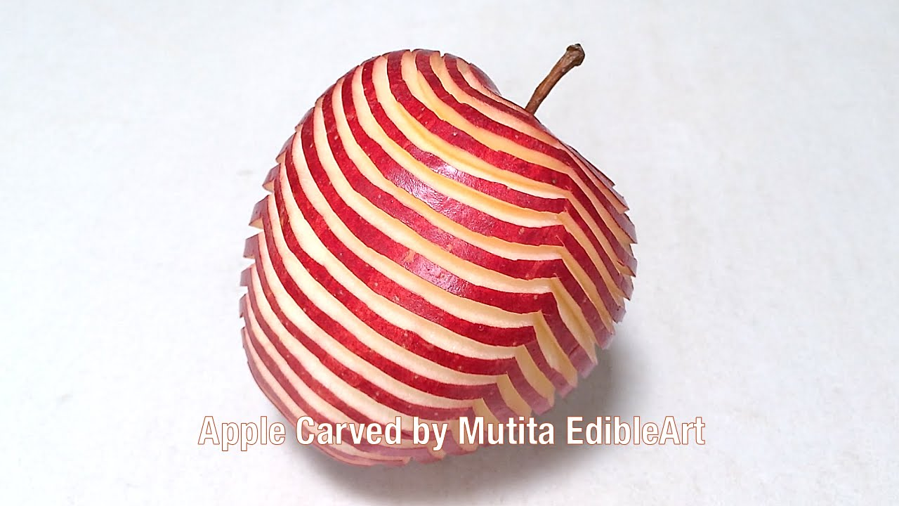Apple carving zebra pattern design beginners lesson