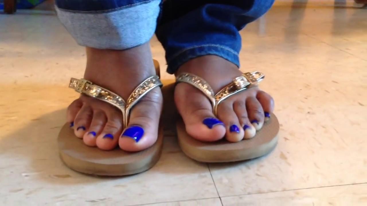 Black women feet in flip flops toenails matchless phrase