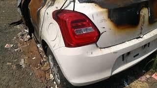 New Maruti Suzuki Swift 2018 car caught fire in Accident in national highway, near Alappuzha, Kerala Video