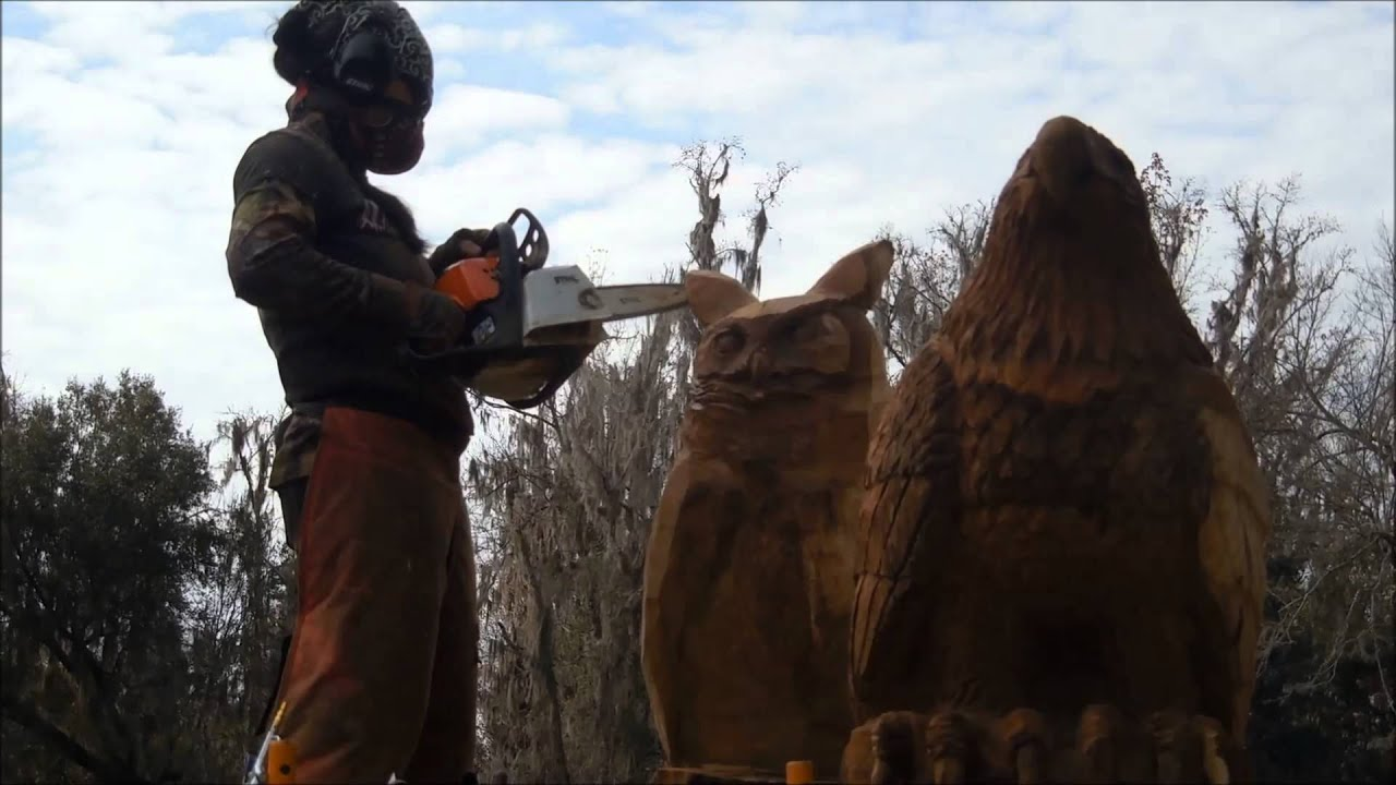 Aya blaine chainsaw carving artist james oak stump