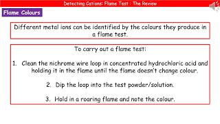 C4.2.2 - Detecting Cations -  Flame Test Summary