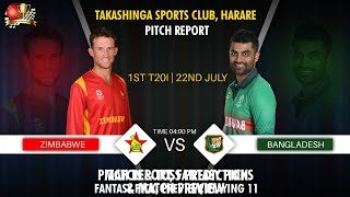 Harare Sports Club Harare Latest Pitch Report  Zimbabwe vs Bangladesh 1st T20 22 July 2021- Preview 