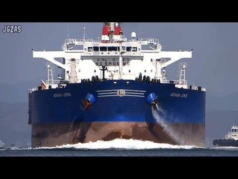 [巨大船] ASPASIA LEMOS Crude oil tanker 原油タンカー Atlas Maritime 関門海峡 2015-MAR