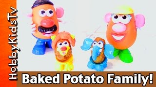 Hobbyfood: Perfect Baked Potato! Mr. + Mrs Potato Heads Get Tator Tot Babies By Hobbykidstv