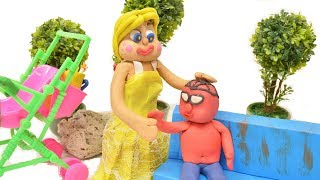 Green Baby FUNNY TIME AT THE PLAYGROUND - Stop Motion Cartoons For Kids