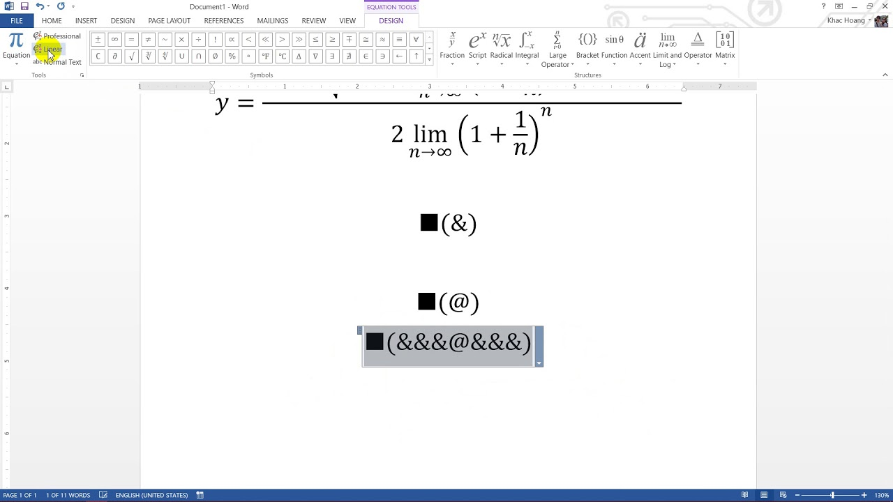 #Word Sử dụng Equation để chèn công thức toán học