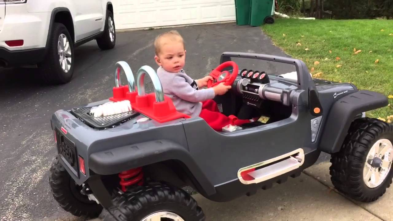 2 year old drives power wheels jeep hurricane - youtube