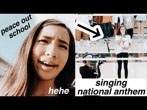 skipping school to sing the national anthem - caroline manning