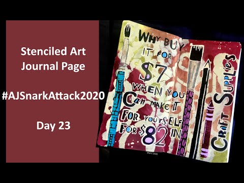 Stenciled Art Journal Page #AJSnarkAttack2020 Day 23