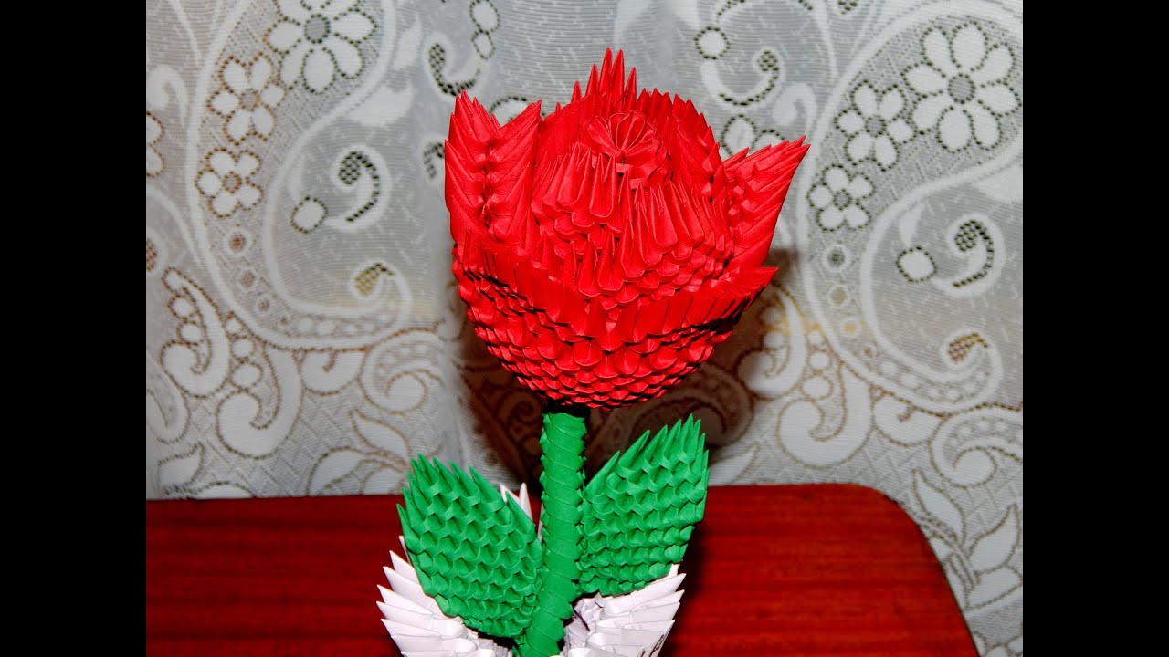 How to make 3d origami Rose part2 - YouTube - photo#17