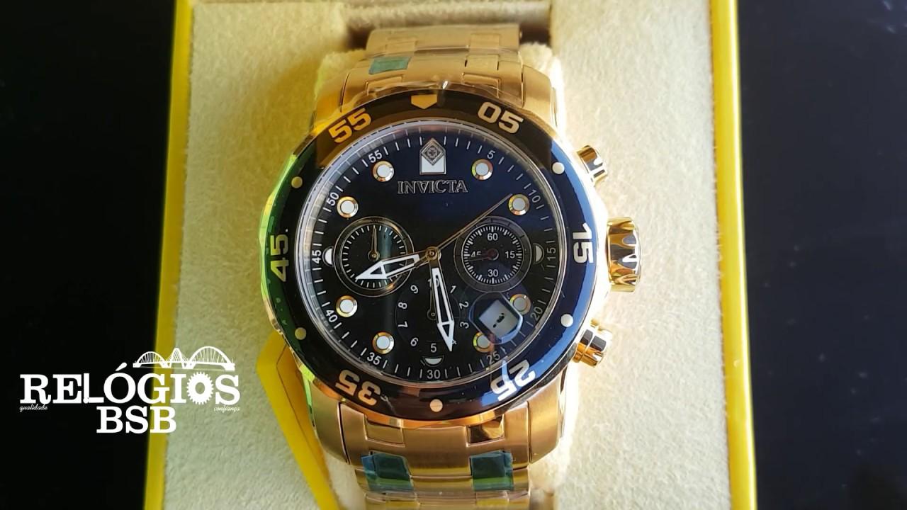 5cac323ee18 Invicta Pro Driver Pulseira de Aço Dourado - MD  0072 - Relógios BSB ...