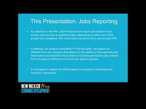 LEDA Project Compliance Jobs Reporting Update