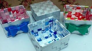 Cesta com caixa de leite – Artesanato com Alinne Marques