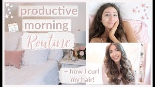 productive morning routine 2019 | get ready with me: hair, makeup, outfit | what I eat!