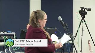SVUESD School Board // 2020 Town Meeting - 3-2-20
