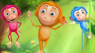 5 Little Monkeys - 3D Music Video for Children - Kids Songs Nursery Rhymes