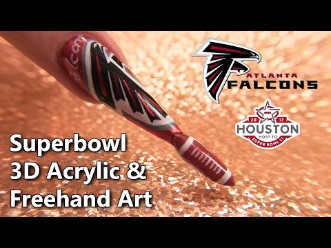 Superbowl 2017 Atlanta Falcons Themed Sculpted Nail