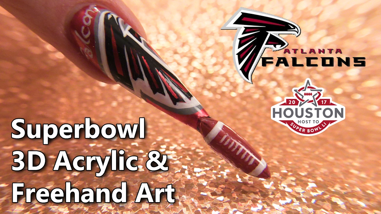 Superbowl 2017 Atlanta Falcons Themed Sculpted Nail - YouTube