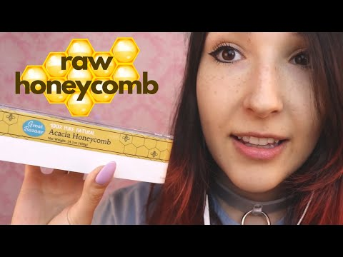 ASMR - RAW HONEYCOMB ~ Sticky Eating Sounds & Whispering ~