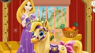 NEW Игры для детей—Disney Принцесса Рапунцель уход за пони—мультик для девочек