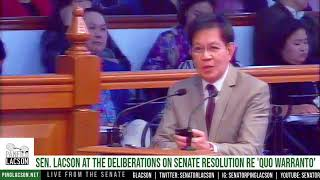 Sen. Lacson's interpellation on the draft Senate resolution re 'quo warranto' | May 31, 2018