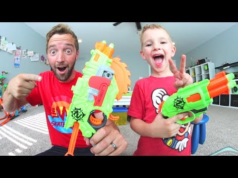 FATHER SON ZOMBIE NERF BLASTERS! / Chainsaw Attachment!