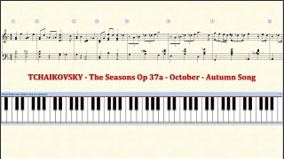 Piano Tutorial Sheet - 10 - TCHAIKOVSKY - October - Autumn Song - HD