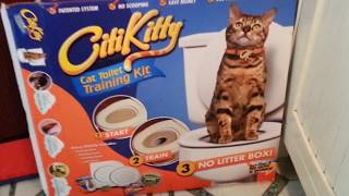 Toilet train your cat safly. This works and I got more videos to show.