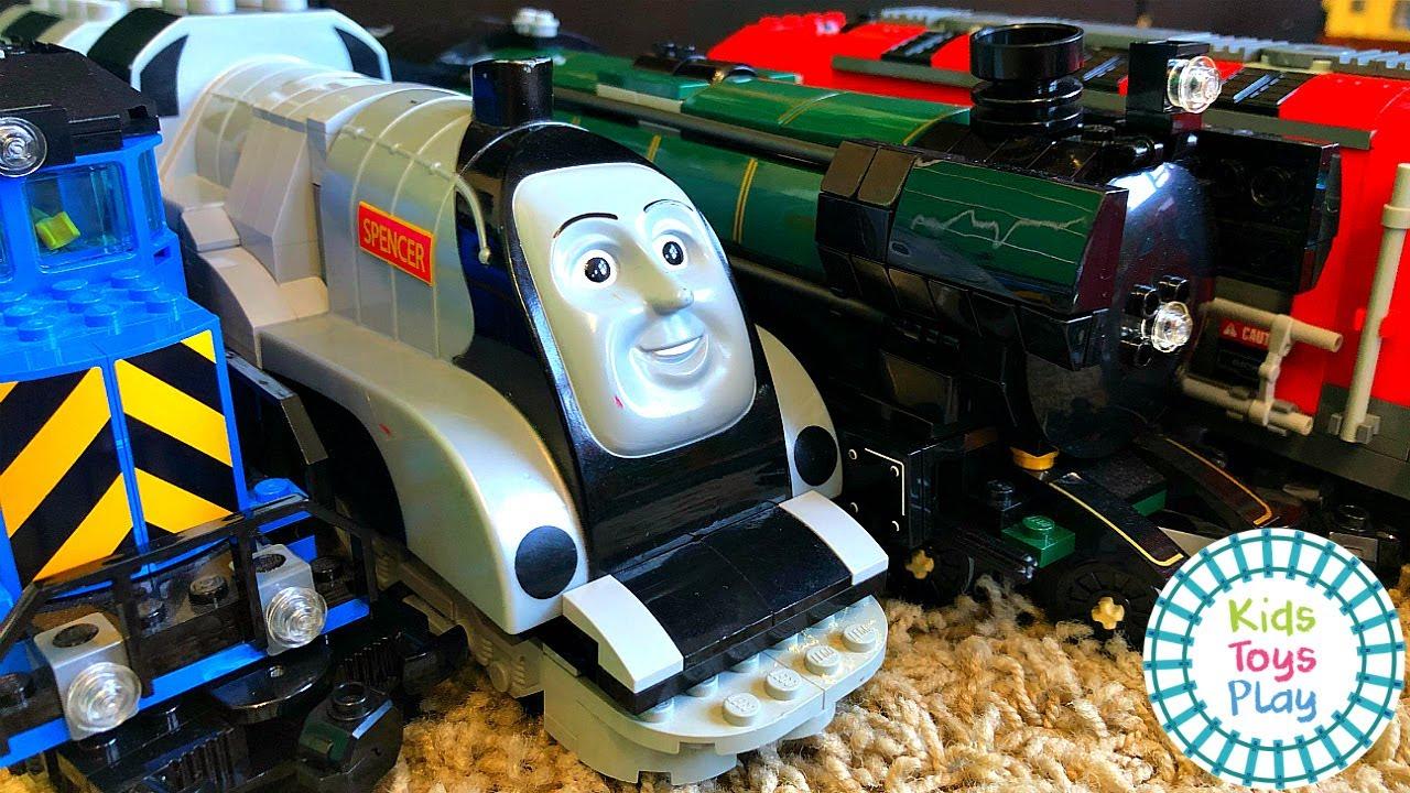Huge LEGO Train Track Build and Train Crashes!