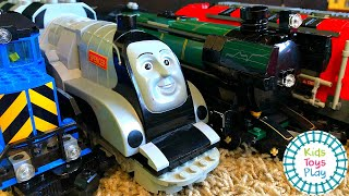 Huge LEGO Train Track Build and Train Crashes!