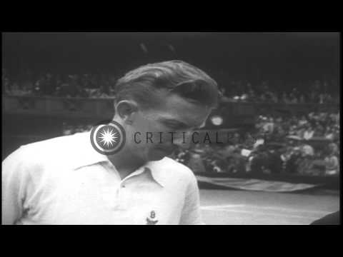 American player John Donald Budge and English player Bunny Austin in the Wimbledo...HD Stock Footage