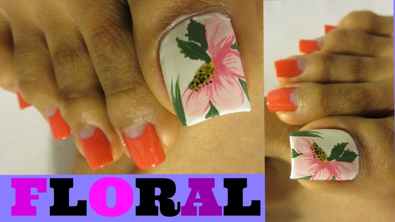 Se hace rápido Flores de Primavera faciles uñas de los pies/Floral ...