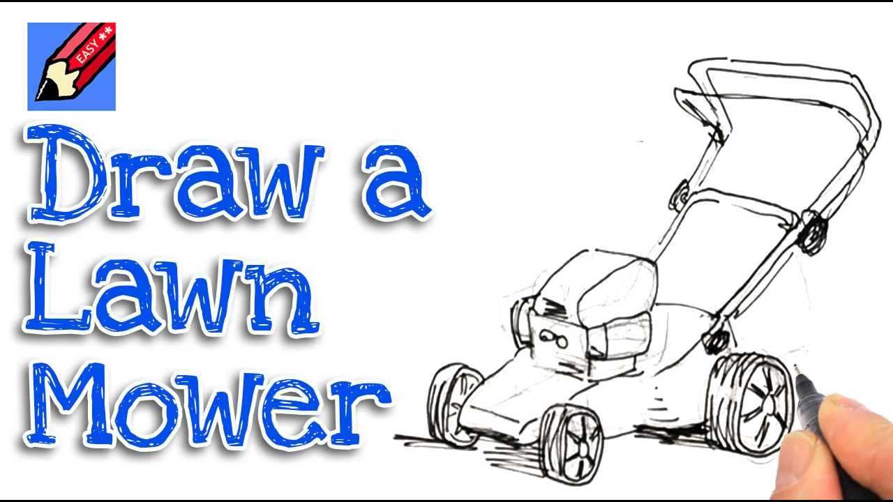 lawnmower drawing. learn how to draw a lawnmower real easy for kids and beginners drawing