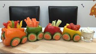 Паровозик из овощей ! Украшение из овощей для праздничного стола ! Развивающие видео для детей !