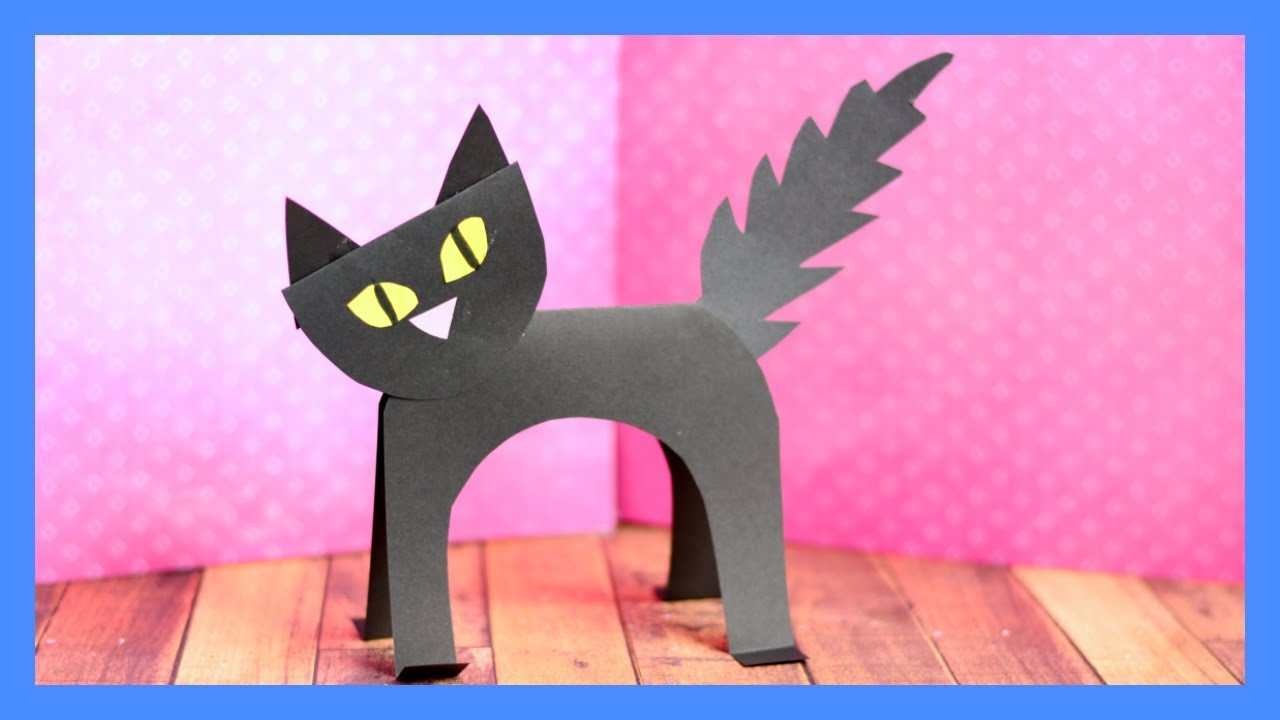 Black cat paper craft halloween crafts for kids youtube for Cat crafts for toddlers