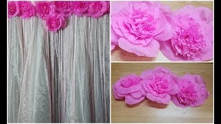 how to make giant paper flowers for backdrop|Party decoration ideas|