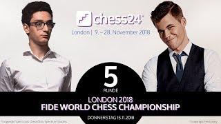 5. Partie - FIDE Schachweltmeisterschaft 2018 - Caruana-Carlsen