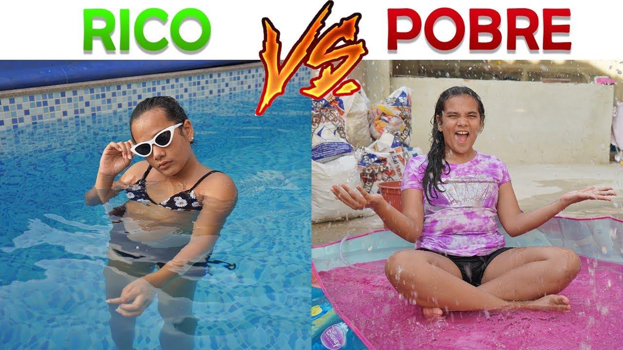 Rico vs pobre na piscina!! - YouTube
