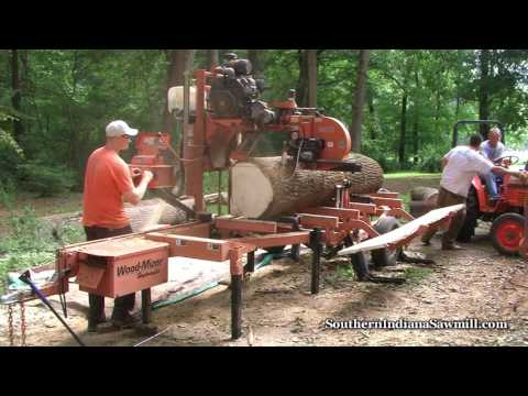 Wood-Mizer sawing large log  Southern Indiana Sawmill