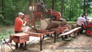 Wood-Mizer sawing large log  Southern Indiana Sawmill