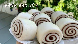 Cách Làm Bánh Bao Sữa Socola | Spiral Milk Buns recipe (steamed mantou)