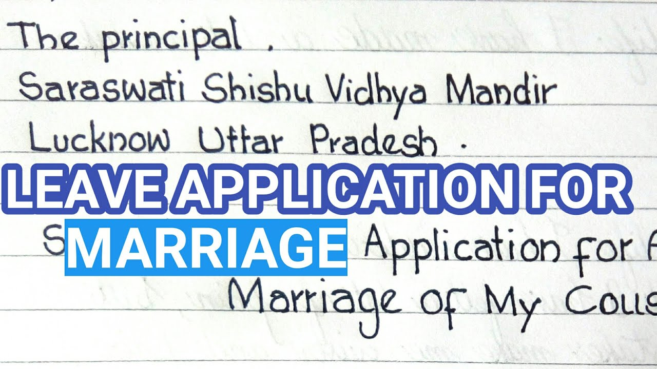 Leave application for marriage in English | how to write leave application  for marriage